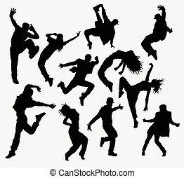 baile, hiphop, siluetas