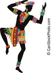 baile, hombre, étnico, africano