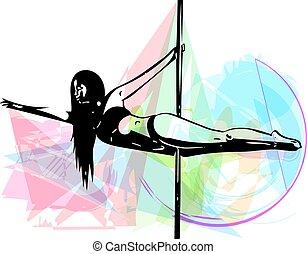 baile, ilustración, poste, mujer