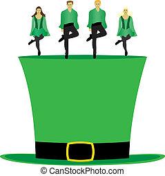 baile, irlandés, sombrero, paso