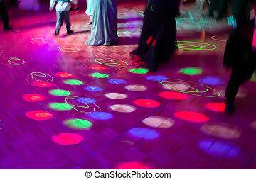 baile, luces, piso