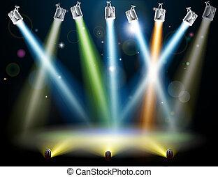 baile, luces, piso, o, etapa