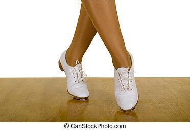 baile, movimientos, tap-top/clog