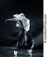 baile, mujer, moderno, joven