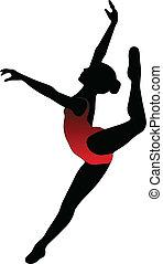 baile, niña, ballet, siluetas, -, vector