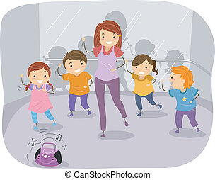 baile, niños, clase
