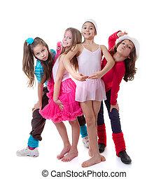 baile, niños, escuela