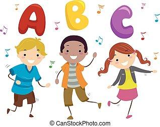 baile, niños, stickman, ilustración