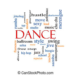 baile, palabra, nube, concepto