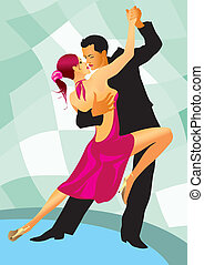 baile, par, bailarines, salón de baile