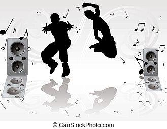 baile, par, música