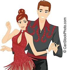 baile, par, salón de baile, ilustración, pareja
