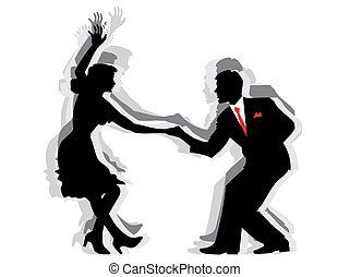 baile, pareja, columpio