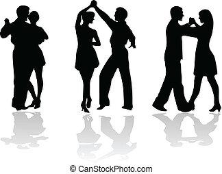 baile, parejas, siluetas