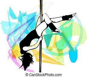 baile, poste, mujer, ilustración