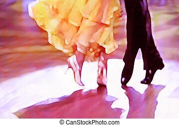 baile, resumen, 5465, salón de baile, piso