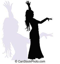 baile, silueta, mujer, flamenco