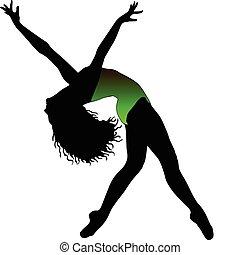 baile, siluetas, ballet, niña