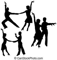 baile, siluetas, latino