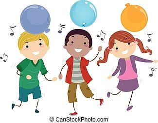 baile, stickman, globo, niños, juegos