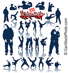 baile, vector, breakdance, personas