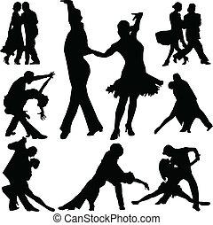 baile, vector, silueta, gente