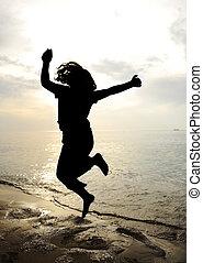 baile, y, salto, silueta