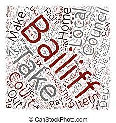 bailiffs, conceito, conselho, direitos, texto, imposto, legal, wordcloud, saber, fundo, seu