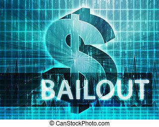 Bailout Finance illustration, dollar symbol over financial...