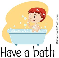 bain, prendre, garçon