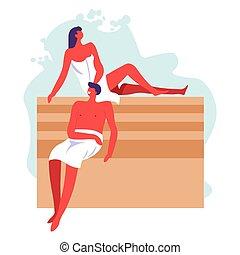 bain public, femme homme, ou, sauna, spa, gens