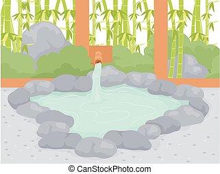 bain public, onsen, illustration, extérieur