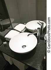 bain, salle moderne, détail