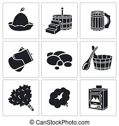 bain, vecteur, ensemble, accessoires, icônes