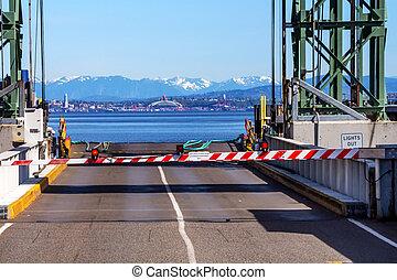 bainbridge 島, フェリー, ドック, 門, puget 音, シアトル, 山をカスケードにしなさい, 中に, 距離, kitsap, 郡, ワシントン州, 太平洋北西部