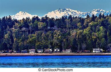bainbridge 島, puget 音, 雪, 山, オリンピック 国立公園, ワシントン州, 太平洋北西部