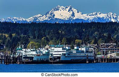 Bainbridge Island Ferry Dock Puget Sound Mount Olympus Snow Mountains Olympic National Park Kitsap County Washington State Pacific Northwest