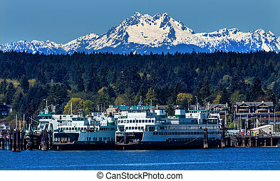 Bainbridge Island Ferry Dock Puget Sound Mount Olympus Snow Mountains Olympic National Park Kitsap County Washington State Pacific Northwest