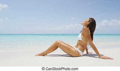 bains de soleil, bikini, mode, plage, sexy, femme