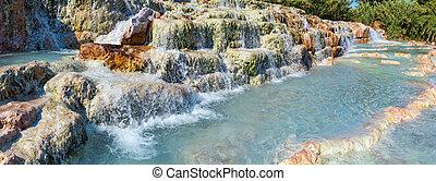 bains, italie, thermique, naturel, saturnia, spa