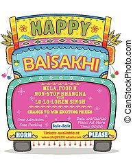 baisakhi, fond, heureux