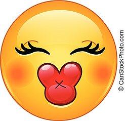 baiser, emoticon, femme
