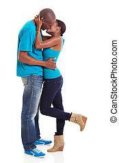 baisers, américain, afro, couple, jeune