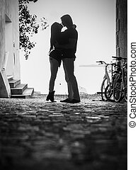 baisers, amants, silhouette