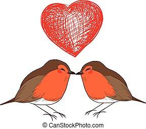 baisers, amour, rouge-gorge, oiseaux