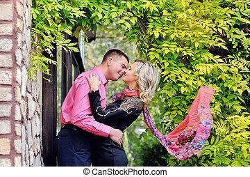 baisers, couple, aimer