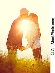 baisers, couple, amour, jeune, susnet