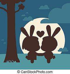 baisers, couple, arbre, lapin, sous