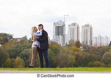 baisers, couple, heureux