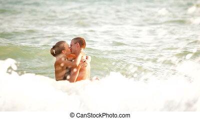 baisers, couple, mer